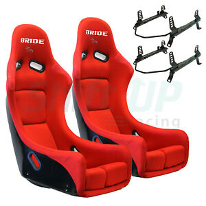 Bride Zieg Red Low Max Pair Seats W Low Down Rail Wrx sti Gc8 gdb Sub Vios