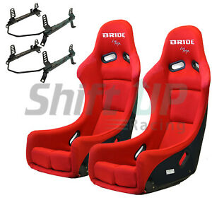 Bride Zieg Red Low Max Pair Seats Low Down Rail Mitsubishi Evo8 9 03 07 Vios