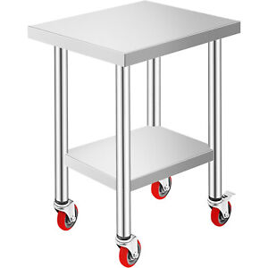 Commercial 18 x24 stainless Steel Work Prep Table With 4 Wheels Kitchen