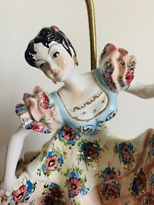 Vintage Mexican Dancing Lady Ceramic Lamp Base Mid Century Made In Italy