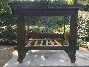 Antique Javanese Indonesian Bed Unique Hand Painted Teak Double Bed
