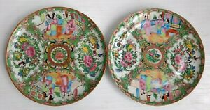 Antique 19th C Chinese Export Rose Medallion 8 5 Plate Hand Painted Set Of 2