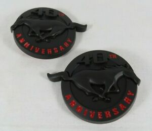 Ford Mustang 40th Anniversary Emblems Black Red Fender Pony Badge Sign Symbol