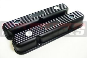 Mopar 318 340 360 Small Block Black Cast Aluminum Fin Valve Cover Dodge