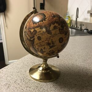 Vintage Small Table Top Old World Globe Solid Brass Base 9 In Tall