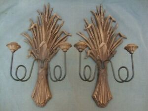 Vintage Pr Ethan Allen Baumritter 1960s Candle Holders Wall Sconces Wheat Shocks
