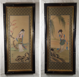 Framed Chinese Gouache Painting On Silk With A Silk Brocade Border