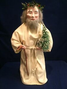 Primitive Father Christmas Handmade Folk Art Santa Doll Christmas Decor Reduced
