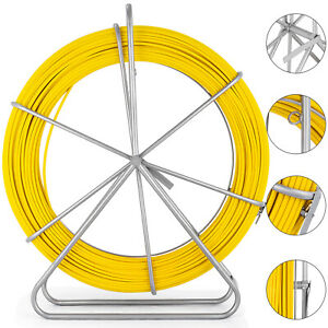 200m 656ft Fish Tape 6mm Fiberglass Wire Cable Running Rod Duct Rodder Puller