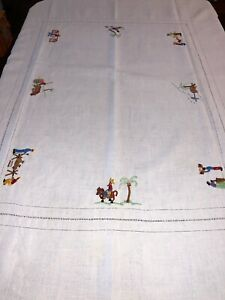 Vintage Linen Hand Embroidered Tablecloth 70x48 Agriculture Farming Fishing