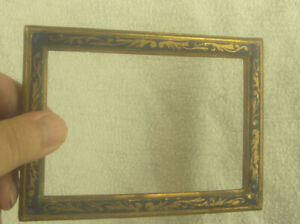Antique Small High Quality Wooden Blue Gilt Paint Picture Frame