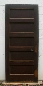 32 X79 Antique Vintage Unpainted Interior Solid Wood Wooden Door Stacked 5 Panel
