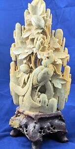 Amazing Antique Soapstone Chinese Statue Peacock Flowers And Wilderness