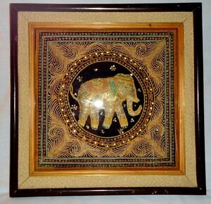 Vintage Thai Lucky Elephant Tapestry Hand Embroidered Moonstones In Shadow Box