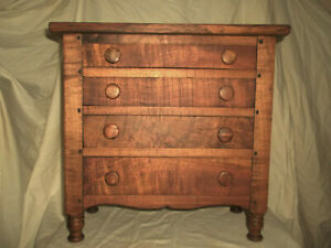 Tiger Maple Sheraton Style Small Size Dresser All Hand Dovetailed Drawers