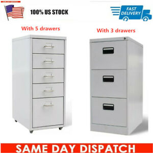 Classic Office File Cabinet With 5 3 Drawers With Castors Space Saving Gray
