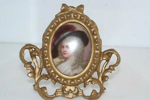 Antique 19th Century Painted Porcelain In Gold Gesso Picture Frame Woman
