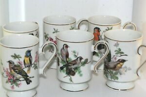 Vntg Royal Crown Birds 6 Pc Set Tea Cups Footed Gold Trim Coffee Mugs Nature