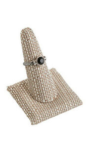 Single Finger Ring Display In Linen 2l X 2w X 1 1 4h With Square Base 10 Pc