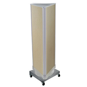 Almond 3 Sided Revolving Pegboard Tower Display On Metal Base 16w X 60h Inches