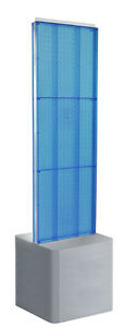 Blue 2 sided Pegboard Floor Display 16w X 60h Inches On Adjustable Studio Base
