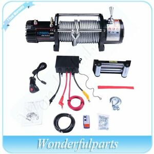 12000lb 12v Electric Recovery Winch Wireless Remote Towing Trailer Truck Offroad
