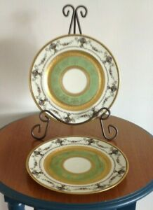 Lot Of 2 Henrich H C Antique China 11 Dinner Plates Gold Encrusted 1930 1939