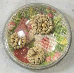 Antique Victorian Mourning Memorial Human Hair Flowers Paperweight Needlepoint