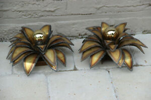 Mid Century Hollywood Regency Pair Wall Lights Sconces Leaves Maison Jansen Kogl