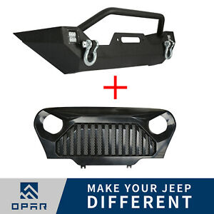 Front Bumper W winch Plate Grille Mesh Insert For Jeep Wrangler Tj 1997 2006