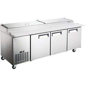 Adcraft Commercial 24 Cu Ft 3 Door Refrigerated Pizza Prep Table 92
