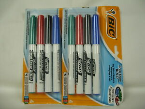 New Lot Of 2 Bic 4 pack Dry Erase Markers Fine Point Free Shipping