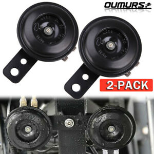 2x 12v Waterproof Loud 105 Db Universal Motorcycle Car Bike Snail Horn Black