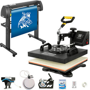 5in1 Heat Press 15 x15 Vinyl Cutter Plotter 34 Graphics T shirt Sublimation