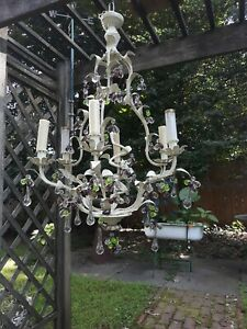 Large Vintage Floral Design Wrought Iron Chandelier Old White Paint Art Glass