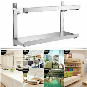 Commercial 2 shelf Stainless Steel Kitchen Restaurant Utility Shelf Wall Mounted