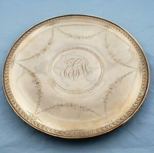 Beautiful Vintage Sterling Silver Bright Cut Monogrammed Serving Plate 7042