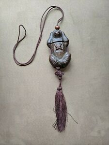 No Evil Monkey Inro Material Box Netsuke Wood Carved Hanging Charm Approx 4 L
