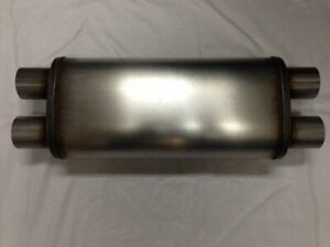 2 5 Dual In out Stainless Steel Muffler 5x8x18 Crossflow Design Max Flow Mf2468