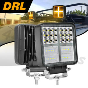 2x 5 153w Cree Square Led Dirving Lights 3000k Drl Combo 6500k Driving Off Road