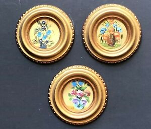 3 Vintage Gold Gilt Italy Italian Antique Round Framed Small Wall Frames Flowers