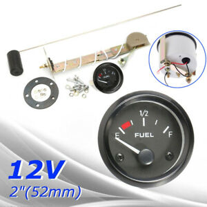 Bezel Gas Fuel Level Gauge Sensor Analogue Measure Kit Car Marine Boat Dc 12v
