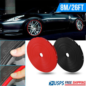 26ft 8m Car Wheel Hub Rim Edge Protector Trim Tire Guard Sticker Strip Universal