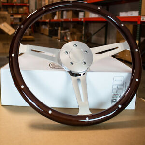 18 Dark Wood Steering Wheel Chrome 5 Bolt Freightliner Kenworth Peterbilt