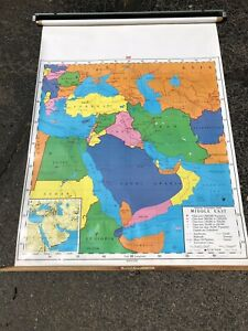 Nystrom Pull Down Usa Map Globe School Mcnally Vtg Classroom Wall Middle East