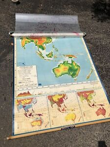 Nystrom Pull Down America Map Globe School Mcnally Vtg Classroom Usa Wall Asia