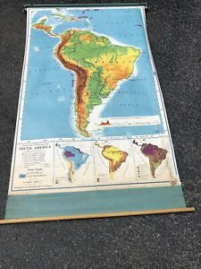 Nystrom Pull Down Map Globe School Mcnally Vtg Classroom Usa Wall South America