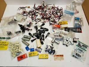 Huge Lot Electronic Components Parts Lot Fuse Holders Capacitors Panel Lights