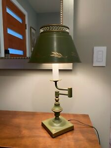 Vintage 1950 S Green Toleware Bouillotte Swinging Arm Table Lamp