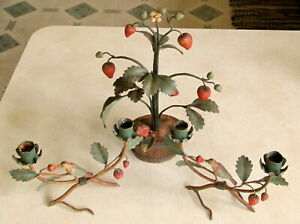 Vintage Tole Toleware Birds Berries Candle Holders Centerpiece Italy